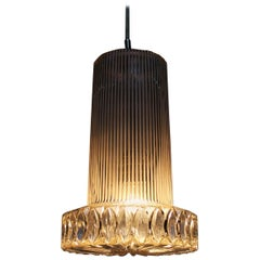 Vintage Textured Glass Pendant Lamp Germany, 1950s