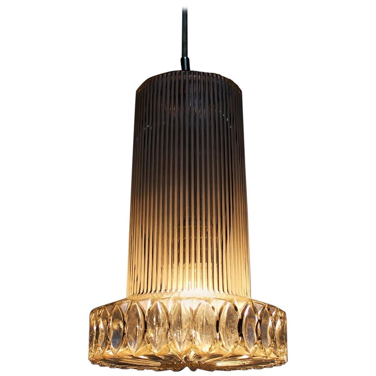 Vintage Textured Glass Pendant Lamp Germany, 1950s For Sale