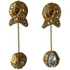 Vintage Textured Gold Diamante Drop Earrings