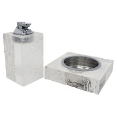 Vintage Textured Lucite Table Lighter and Ashtray Set