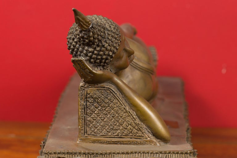 Vintage Thai Bronze Reclining Buddha Sculpture on Base with Lost Wax Technique For Sale 6