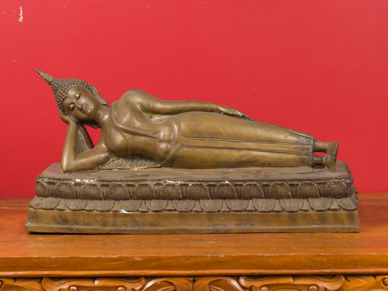 Asian Vintage Thai Bronze Reclining Buddha Sculpture on Base with Lost Wax Technique For Sale
