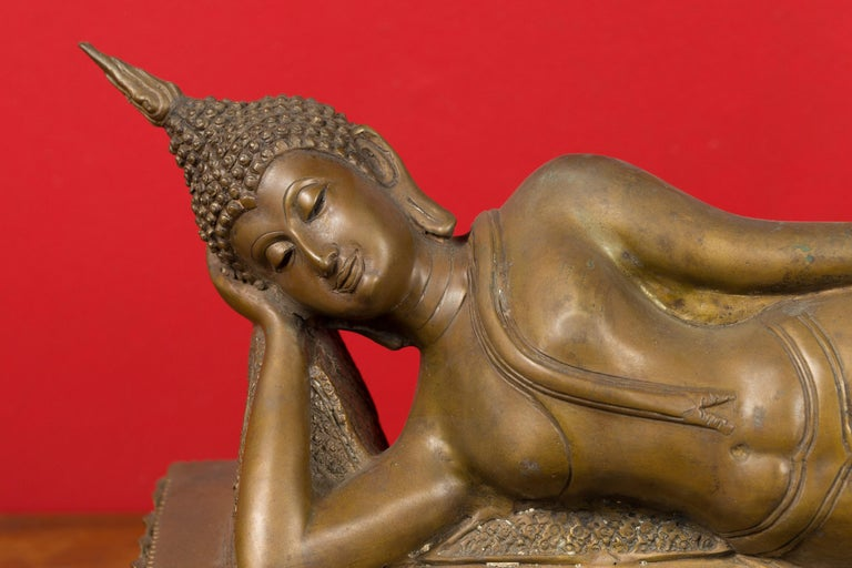Cast Vintage Thai Bronze Reclining Buddha Sculpture on Base with Lost Wax Technique For Sale
