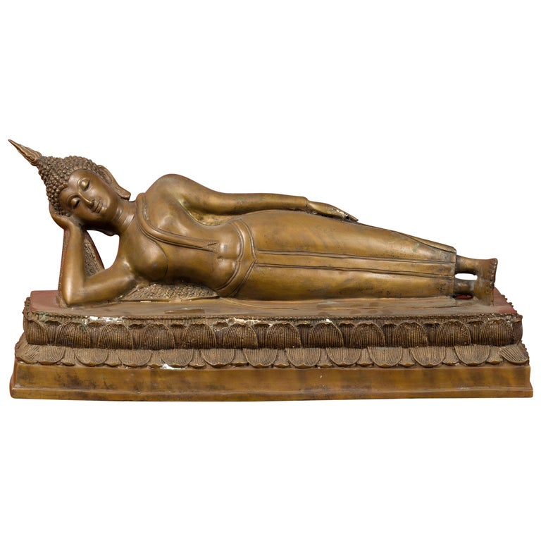 Vintage Thai Bronze Reclining Buddha Sculpture on Base with Lost Wax Technique For Sale