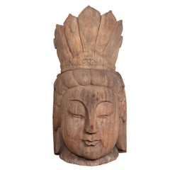 Vintage Thai Carved Wooden Head Sculpture of Guanyin, Bodhisattva of Compassion