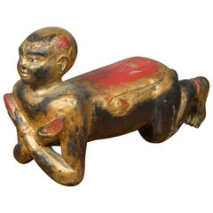 Vintage Thai Ceremonial Gilt Carved Temple Guardian with Black and Red Patina