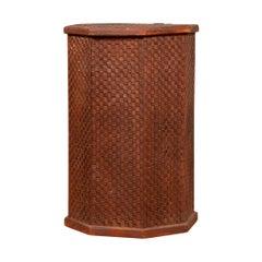Vintage Thai Hexagonal Wooden Clothes Hamper with Checkered Patterns