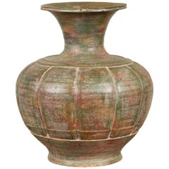 Vintage Thai Pottery Flower Vase with Distressed Patina, Verde and Oxblood Tones