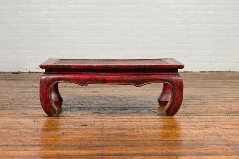 Vintage Thai Red Lacquer Waisted Coffee Table with Rattan Inset and Chow Legs For Sale 3