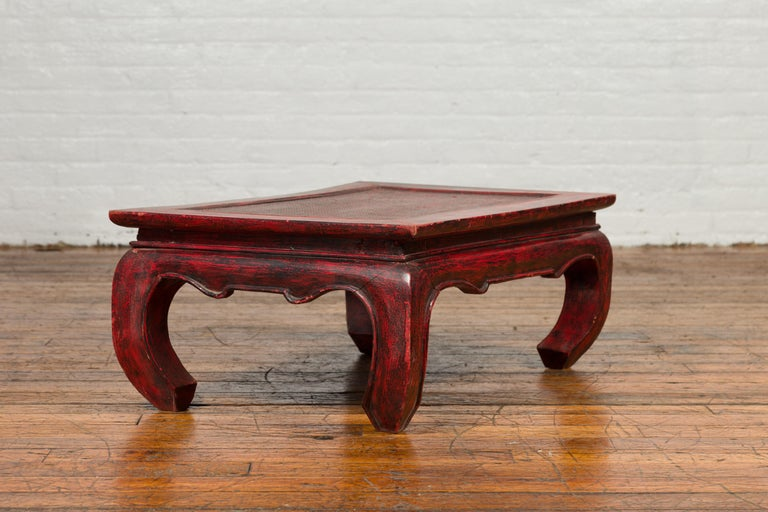Vintage Thai Red Lacquer Waisted Coffee Table with Rattan Inset and Chow Legs For Sale 4