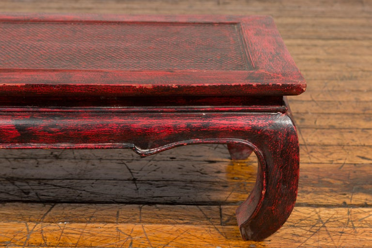 20th Century Vintage Thai Red Lacquer Waisted Coffee Table with Rattan Inset and Chow Legs For Sale
