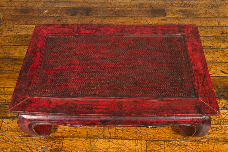 Vintage Thai Red Lacquer Waisted Coffee Table with Rattan Inset and Chow Legs For Sale 1