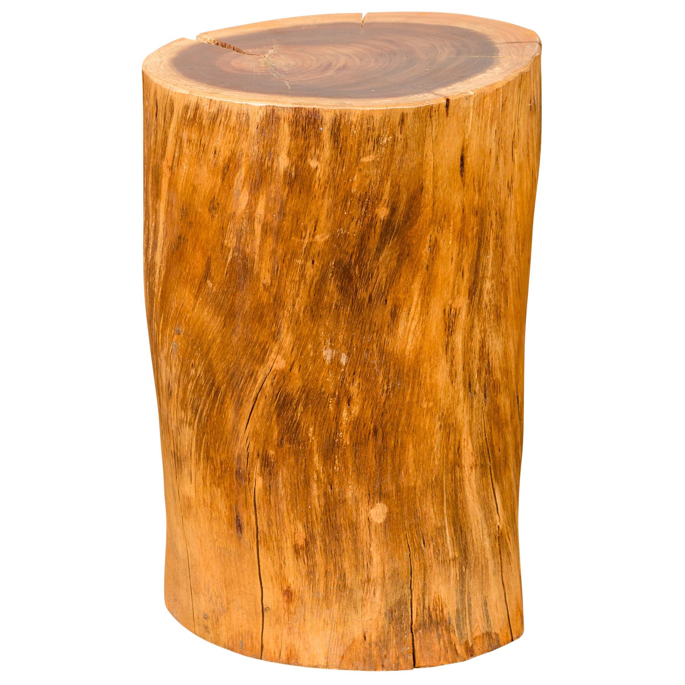 Vintage Thai Rustic Tree Stump Pedestal, Stool or Drinks Table