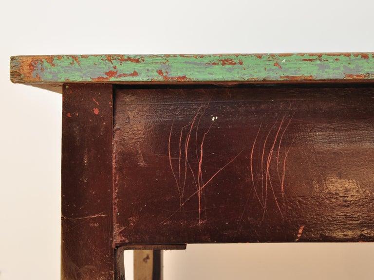 Vintage Thai School Desk with Painted Desktop, North Thailand, Mid-20th Century For Sale 5