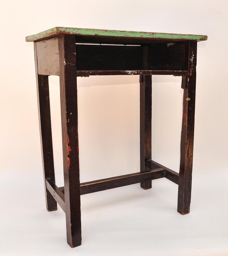 Vintage Thai School Desk with Painted Desktop, North Thailand, Mid-20th Century For Sale 9