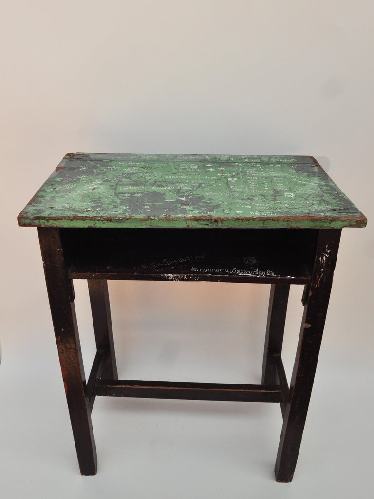 Folk Art Vintage Thai School Desk with Painted Desktop, North Thailand, Mid-20th Century For Sale