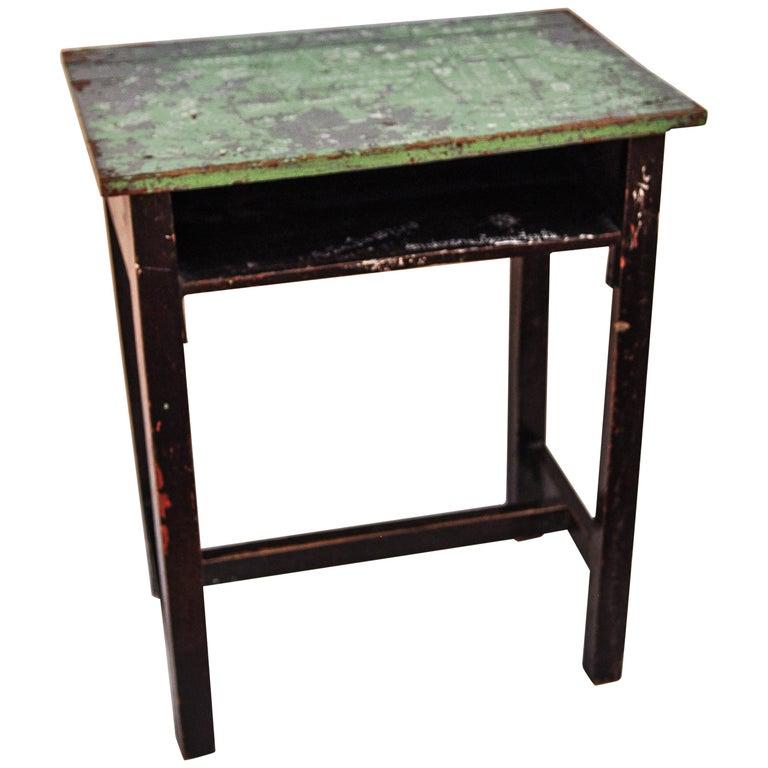 Vintage Thai School Desk with Painted Desktop, North Thailand, Mid-20th Century For Sale