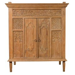 Vintage Thai Teak Cabinet with Carved Floral Decor, Two Doors and Tapered Legs