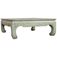 Vintage Thai Teak Coffee Table with Mint Green Distressed Finish and Chow Legs