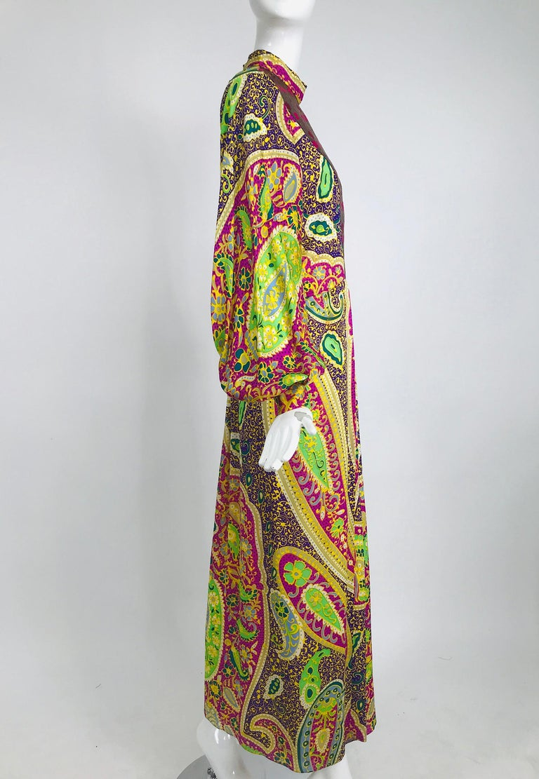 Vintage Thea Porter Silk & Brocade Maxi Dress 1970s In Fair Condition For Sale In West Palm Beach, FL