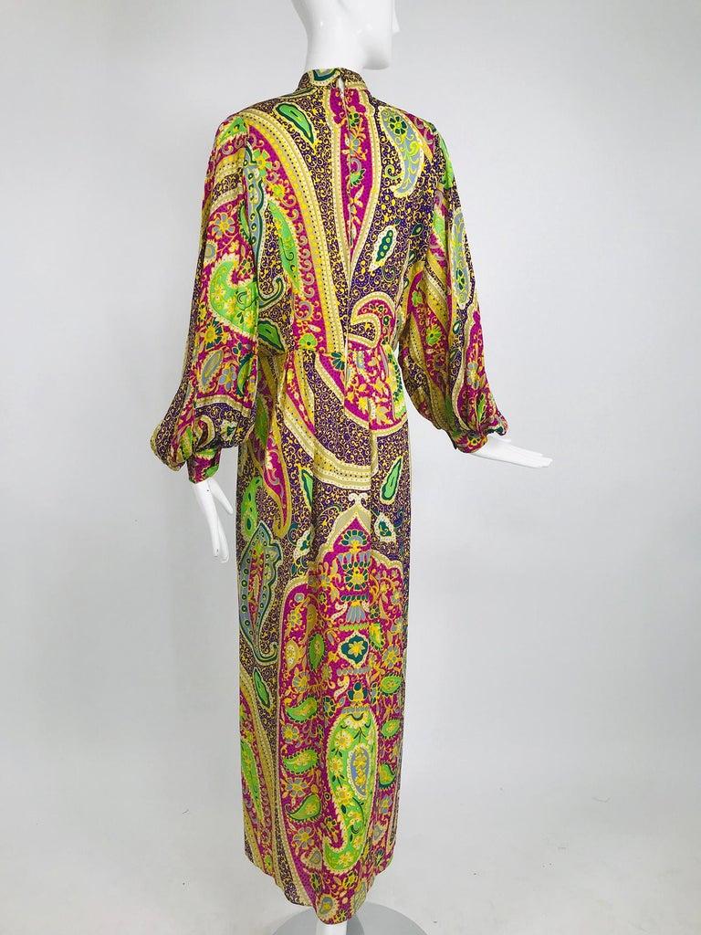 Vintage Thea Porter Silk & Brocade Maxi Dress 1970s For Sale 3