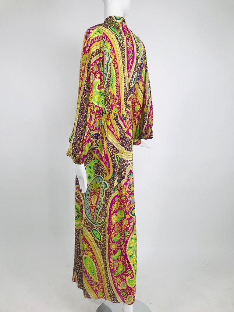 Vintage Thea Porter Silk & Brocade Maxi Dress 1970s For Sale 4