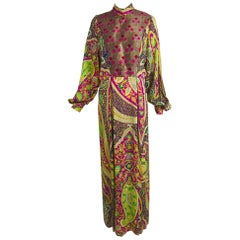 Vintage Thea Porter Silk & Brocade Maxi Dress 1970s