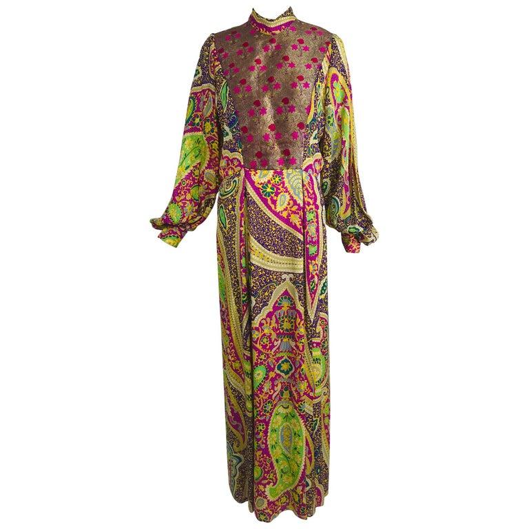 Vintage Thea Porter Silk & Brocade Maxi Dress 1970s For Sale