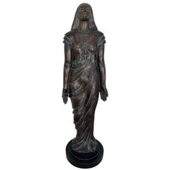 Vintage Theatre Statue of a Standing Draped Female, Life-Size