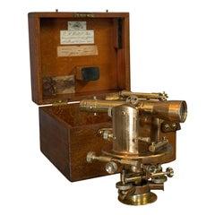 Vintage Theodolite, English, Bronze, Brass, Scientific Instrument, Desk Ornament