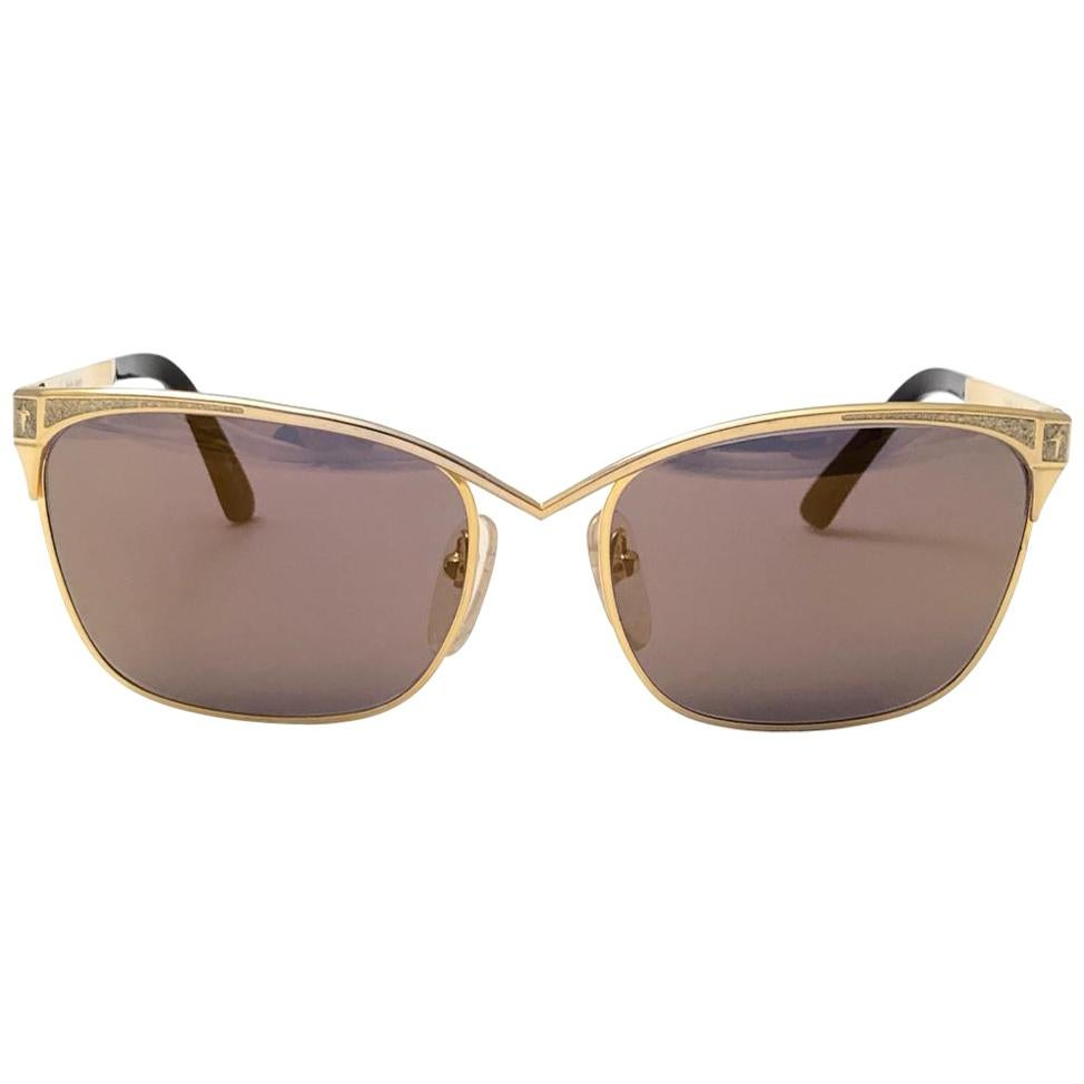 Vintage Thierry Mugler 25 711 Brown Lenses Medium Size 1980's Paris Sunglasses