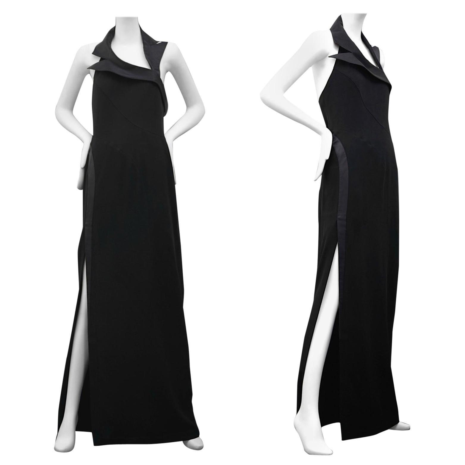 Vintage THIERRY MUGLER Asymmetric Collar Long Black Halter Evening Dress