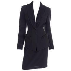 Vintage Thierry Mugler Black Wool Knit Skirt Suit With Ribbed Lapels