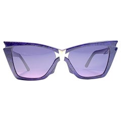 "Vintage Thierry Mugler "" Clichy "" Deep Purple Cat Eye France Sunglasses 1980's"