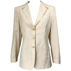 Vintage Thierry Mugler Couture 1990s Size 40 / US 8 Ivory Silk 90s Blazer Jacket