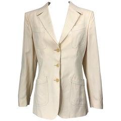 Vintage Thierry Mugler Couture 1990s Size 40 / US 8 Ivory Silk 90s Blazer Jacket
