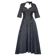 Vintage THIERRY MUGLER Cut Out Bow Neckline Stripe Corset Dress