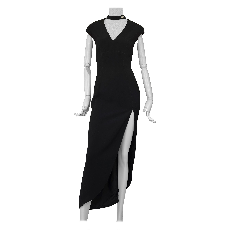 Vintage THIERRY MUGLER Cut Out Neckline Long Black Evening Dress