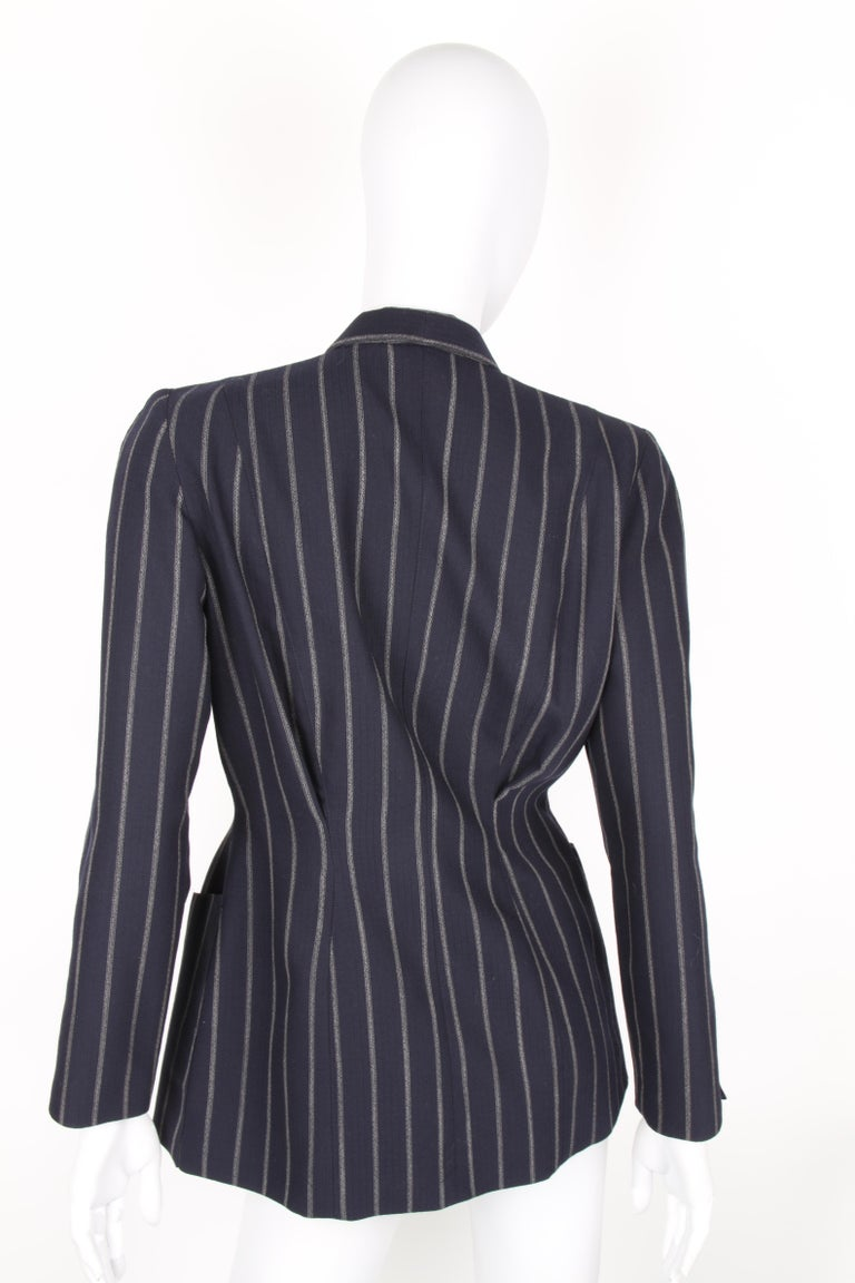 Vintage Thierry Mugler Double Breasted Jacket - dark blue/grey In Excellent Condition For Sale In Baarn, NL