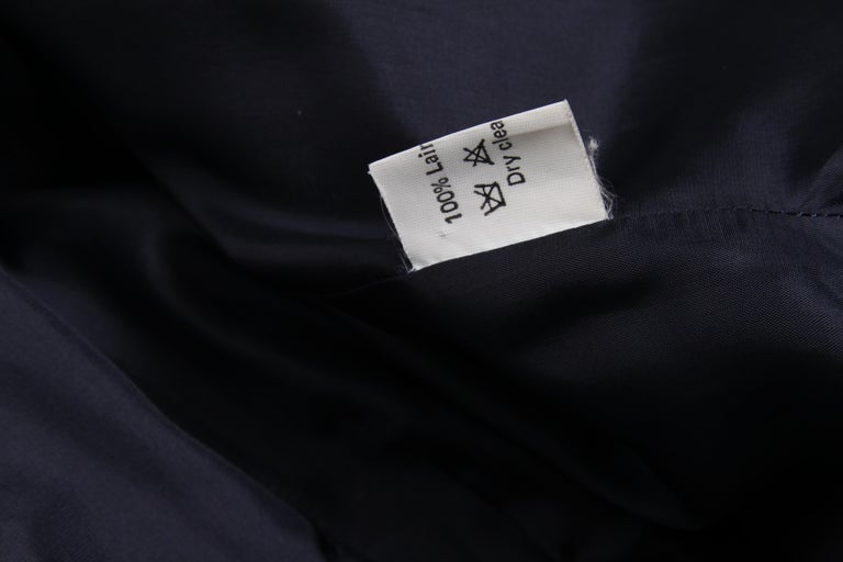 Vintage Thierry Mugler Double Breasted Jacket - dark blue/grey For Sale 1