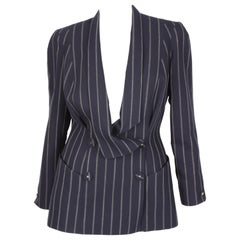Vintage Thierry Mugler Double Breasted Jacket - dark blue/grey