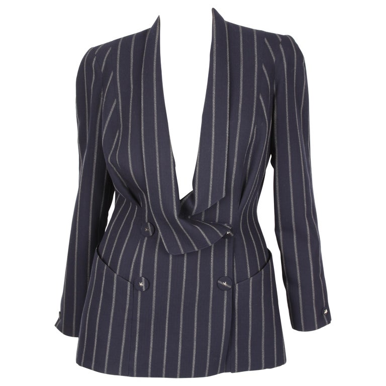 Vintage Thierry Mugler Double Breasted Jacket - dark blue/grey For Sale