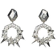Vintage THIERRY MUGLER Futuristic Spikes Rhinestone Dangling Hoop Earrings