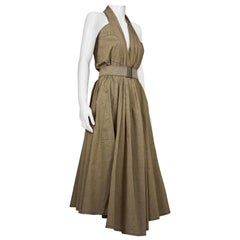 Vintage THIERRY MUGLER Halter Full Circle Belted Dress