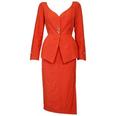 Vintage THIERRY MUGLER Jeweled Coral Button Orange Jacket Skirt Suit