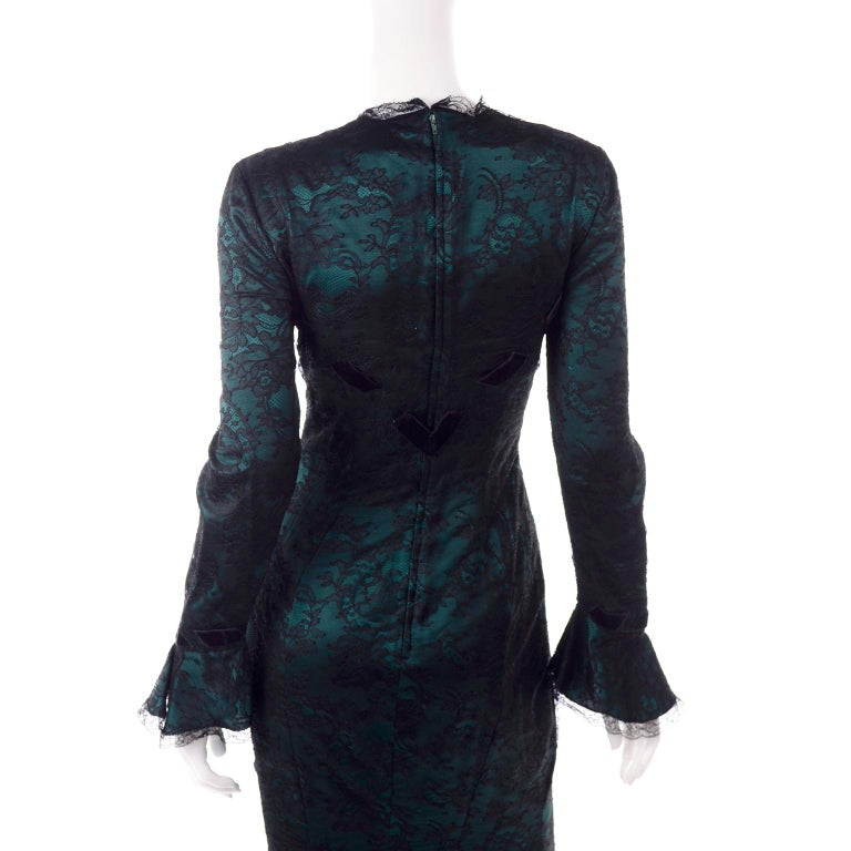 Vintage Thierry Mugler Long Green Silk Evening Dress W Black Velvet Lace  For Sale 8
