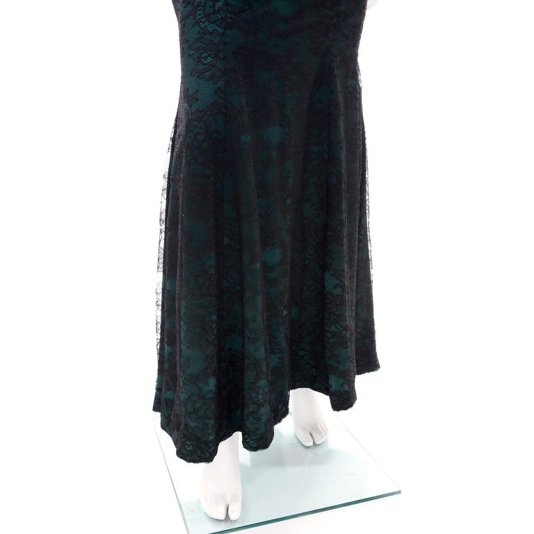 Vintage Thierry Mugler Long Green Silk Evening Dress W Black Velvet Lace  For Sale 9