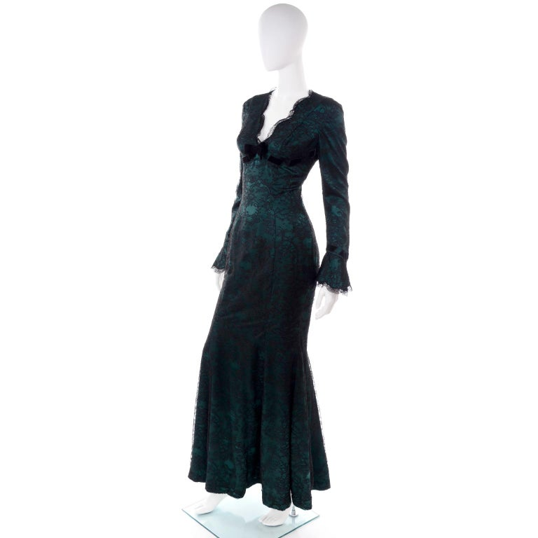 Vintage Thierry Mugler Long Green Silk Evening Dress W Black Velvet Lace  In Excellent Condition For Sale In Portland, OR