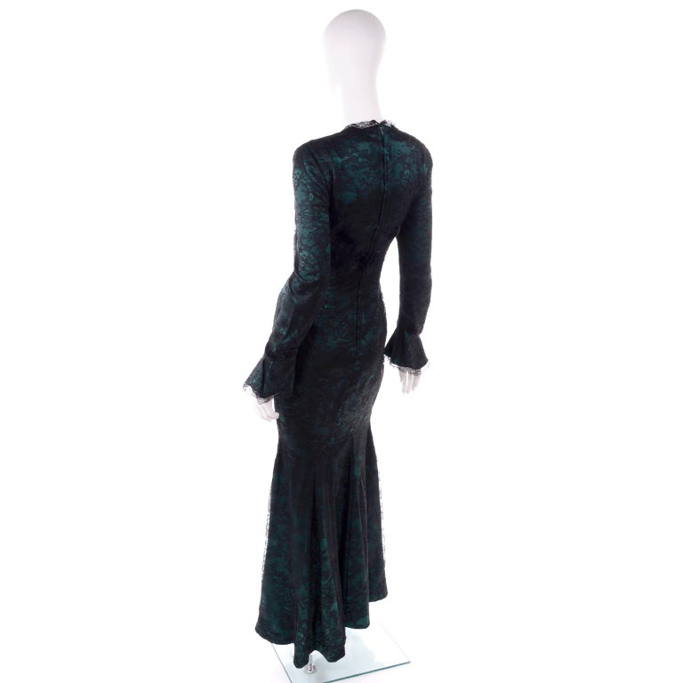 Women's Vintage Thierry Mugler Long Green Silk Evening Dress W Black Velvet Lace  For Sale