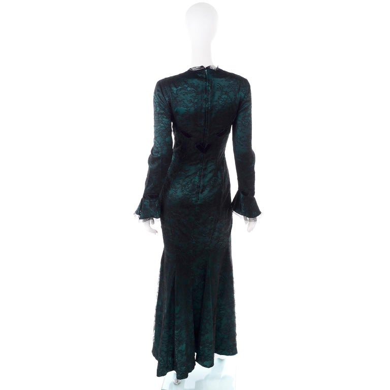 Vintage Thierry Mugler Long Green Silk Evening Dress W Black Velvet Lace  For Sale 1